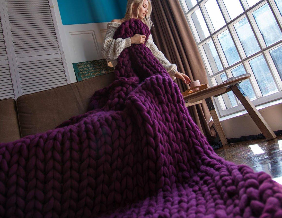 Плед из толстой шерсти мериноса - фиолетовый
